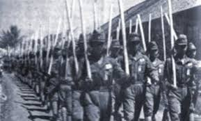 train with wooden staffs instead of weapons. Heiho soldiers from Indonesia were a combination of volunteers and forced conscripts. The Japanese military did not treat them with the same respect as Japanese soldiers (Shown here in 1943)