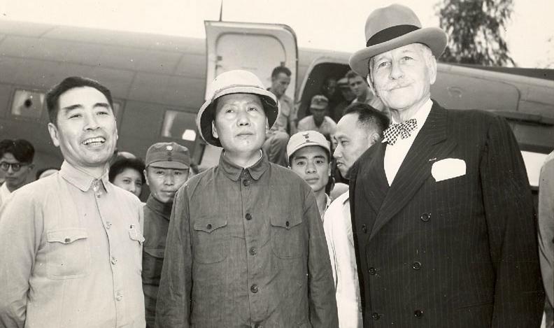 Chou En-lai, Mao Tse-tung and Ambassador Patrick J. Hurley arrive in Chungking