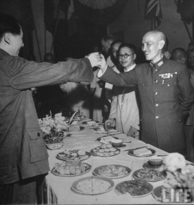 Chaing and Mao toast during the victory celebration banquet