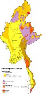Map: Burmese ethnic groups
