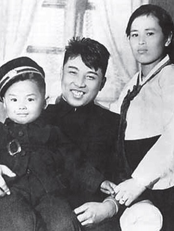 with his wife and a very young Kim Jong-il