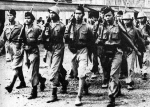 A *pemuda* People's Security Force unit carrying Japanese rifles, October 1945