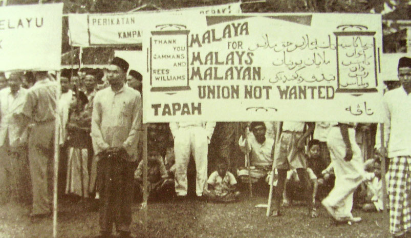 gave rise to demonstrations and the formation of UMNO (the United Malays National Organization), which rules Malaysia to this day