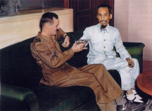 Ho Chi Minh with French General de Hauteclocque (Leclerc), toasting the accord reintroducing French troops to north Viet Nam. For its part, the Indochina Communist Party issued a statement: 'In order to complete the Party's task....a national union conceived without distinction of class and parties is an indispensable factor.... We (communists) are always disposed to put the interests of the country above that of classes, and to give up the interests of the the Party to serve those of the Vietnamese people.'