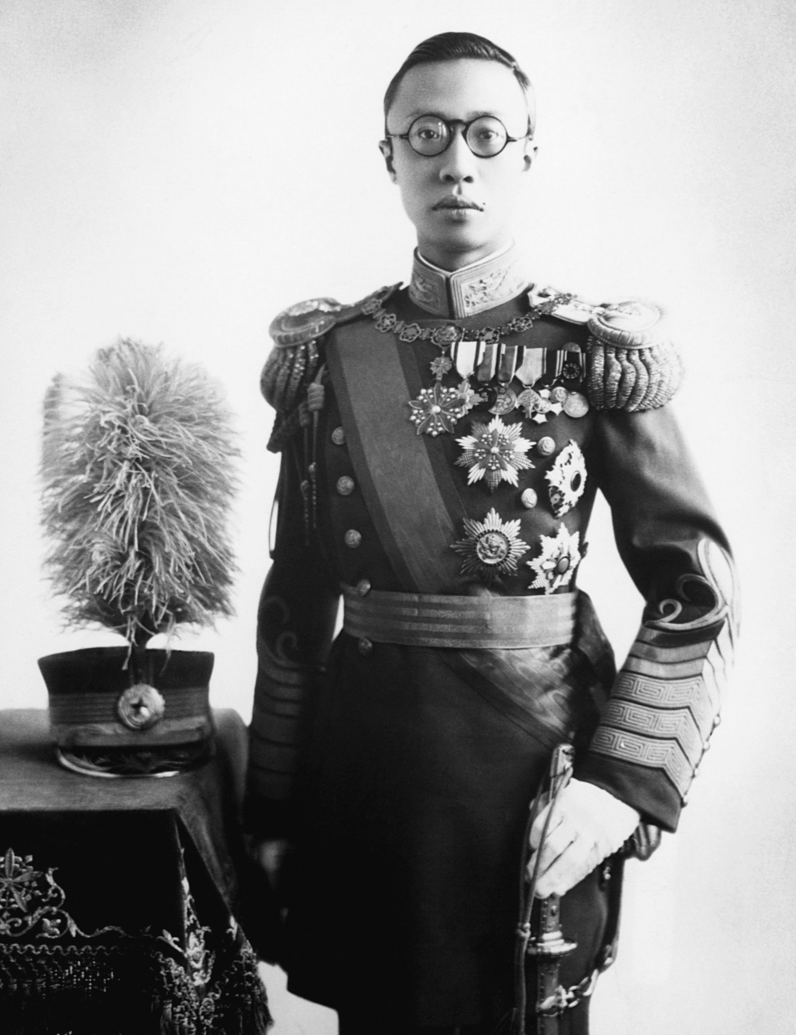 Emperor Pu Yi (known as Henry Puyi in the west) was the last emperor of China. He was the first emperor of Manchuko from 1934-35, a puppet monarch for the Japanese. - photographed: ca. 1940